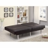 Futons Contemporary Brown Leatherette Sofa Bed with Split Back