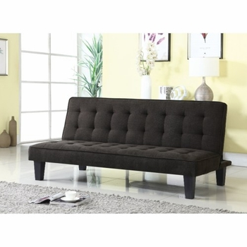 Futons Dark Brown Sofa Bed with Button Tufting