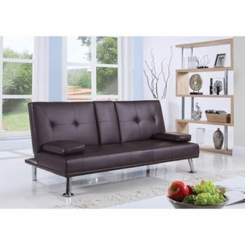 Futons Leatherette Sofa Bed with Center Console