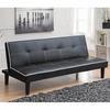 Futons Sofa Bed in Black Leatherette with White Piping