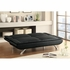 Futons Sofa Bed with Channeled Pillow Top Cushioning in Black Leatherette