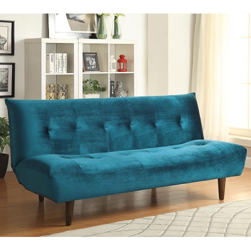 Futons Teal Velvet Sofa Bed With Solid Wood Legs Tufted Back