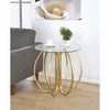 Glass Accent Table with Base formed From Interlocking Rings