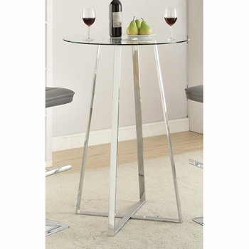 Glass Bar Table with Chrome Base