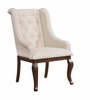 Glen Cove Antique Java Dining Arm Chair with Button Tufting and Nailhead Trim