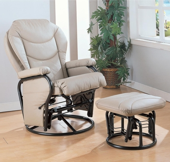 Glider Rocker with Round Base Ottoman