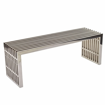 GRIDIRON MEDIUM STAINLESS STEEL BENCH IN SILVER