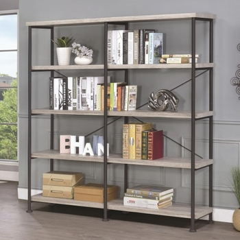 Guthrie Large Wood and Metal Open Bookcase