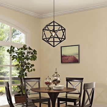 "HADRON 22"" METAL CHANDELIER IN BLACK"