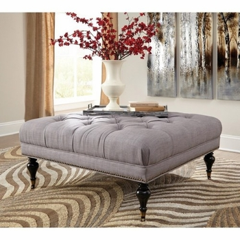 Home Accents Tufted Square Ottoman with Casters