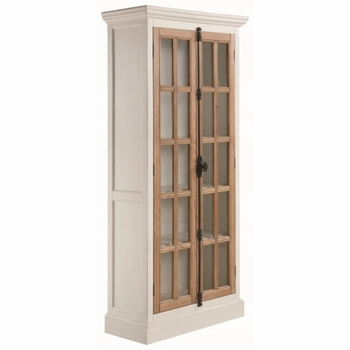 2-Door Tall Cabinet Antique White And Brown 950965