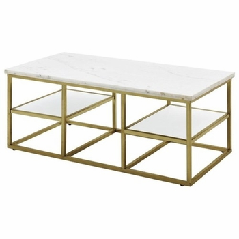 Home Accents White Marble Top Coffee Table with Brass Frame