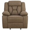 Houston Casual Pillow-Padded Glider Recliner with Contrast Stitching