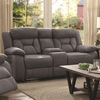 Houston Casual Pillow-Padded Reclining Loveseat with Cupholder Storage Console