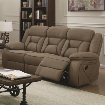 Houston Casual Pillow-Padded Reclining Sofa with Contrast Stitching