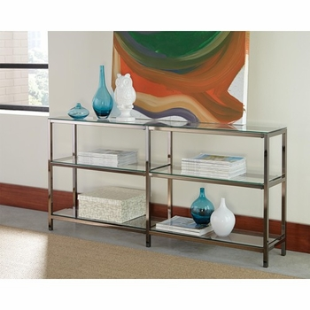 Industrial Metal Bookcase/Console with Glass Shelves