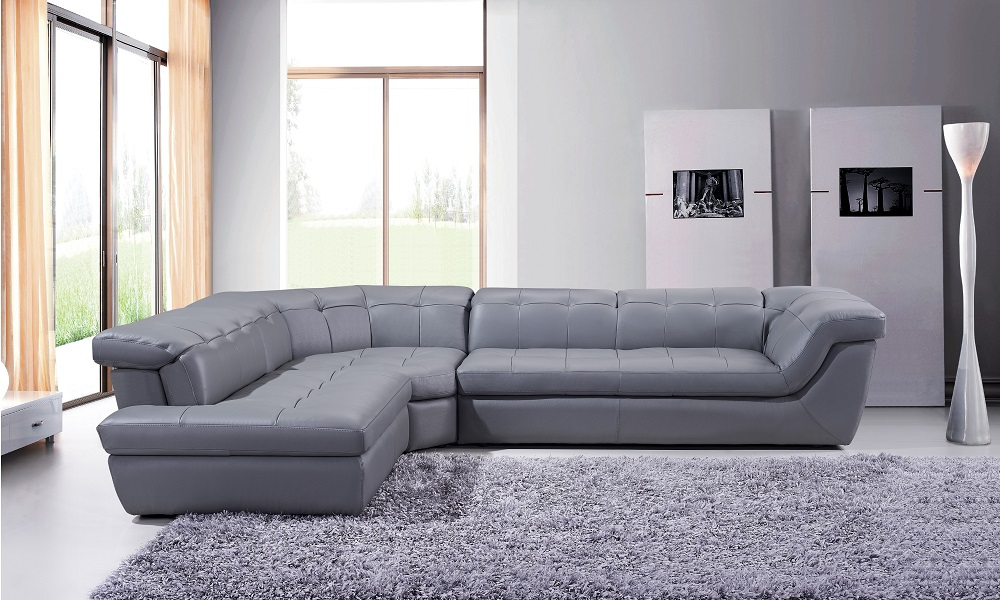 Amazing Ju0026M 397 Italian Leather Sectional In Grey