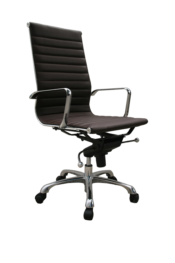 J M Comfy High Back Brown Office Chair