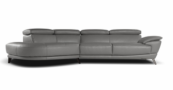 J&M Marisol Premium Leather Sectional in Grey