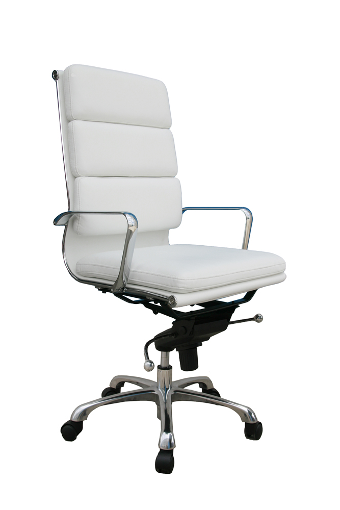 J M Plush Brown High Back Office Chair
