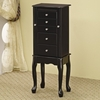 Jewelry Armoires Queen Anne Style Jewelry Armoire in Black Finish