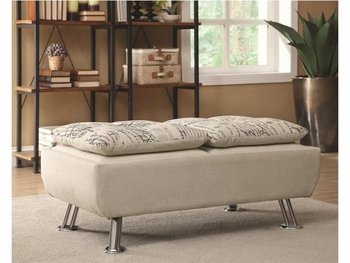 Kay Upholstered Ottoman with Serving Trays and Script Pattern