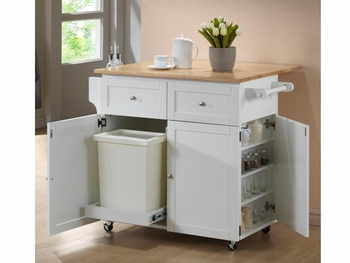 Kitchen Cart w/ Leaf, Trash Compartment, & Spice Rack