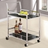 Kitchen Carts Chrome Serving Cart with Black Tempered Glass