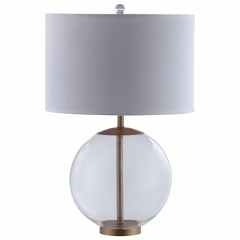 Drum Shade Table Lamp With Glass Base White 961227