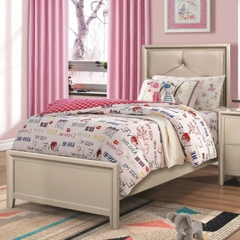 Lana Twin Bed with Upholstered Headboard