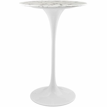 "LIPPA 28"" ARTIFICIAL MARBLE BAR TABLE IN WHITE"