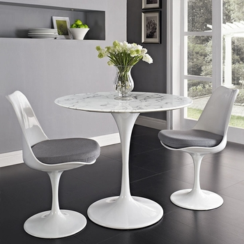 "LIPPA 36"" ARTIFICIAL MARBLE DINING TABLE IN WHITE ONLY"