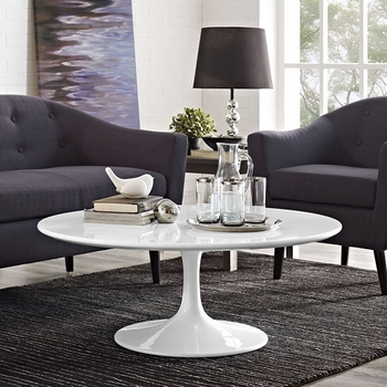 """LIPPA 40"""" WOOD TOP COFFEE TABLE IN WHITE"""