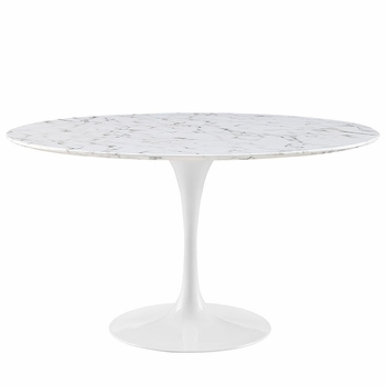 "LIPPA 54"" ARTIFICIAL MARBLE DINING TABLE IN WHITE"