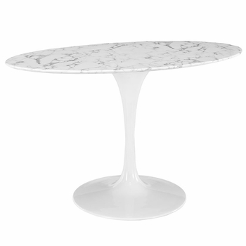 "LIPPA 54"" OVAL-SHAPED ARTIFICIAL MARBLE DINING TABLE IN WHITE"