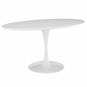 "LIPPA 60"" OVAL-SHAPED WOOD TOP DINING TABLE IN WHITE"