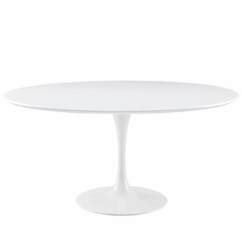 "LIPPA 60"" WOOD TOP DINING TABLE IN WHITE"