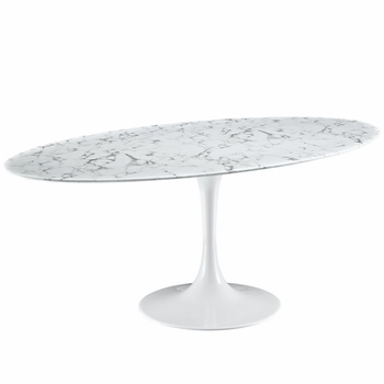 "LIPPA 78"" ARTIFICIAL MARBLE DINING TABLE IN WHITE"