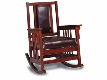 Living Room Style Wood Rocker Leather Padded DC Stores