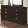 Louis Philippe 202 6 Drawer Dresser with Silver Bails