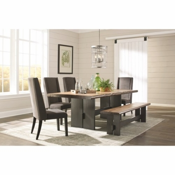 Marquette Live Edge Dining Table Set with Bench