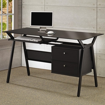 Metal and Glass Computer Desk with Two Storage Drawers 800436