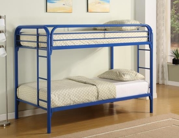 Metal Beds Twin Over Twin Bunk Bed with Built-In Ladders