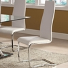Modern Dining White Faux Leather Dining Chair with Chrome Legs