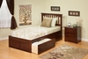 Modern Full Size Mission Platform bed Flat Panel with 2 Drawers Furniture