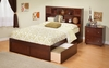 Modern Full Size Newport Bookcase Platform bed Flat Panel With 2 Drawers
