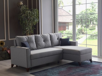 Modern gray versatile reversible sectional w/ bed