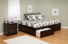 Modern King Size Concord Platform bed Flat Panel with 2 Drawers Furniture