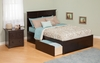 Modern Madison Full Size Platform bed Flat Panel with 2 Drawers Furniture