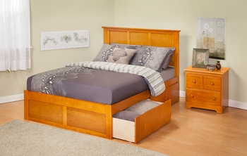 Modern Madison Platform bed Flat Panel with 2 Drawers Furniture